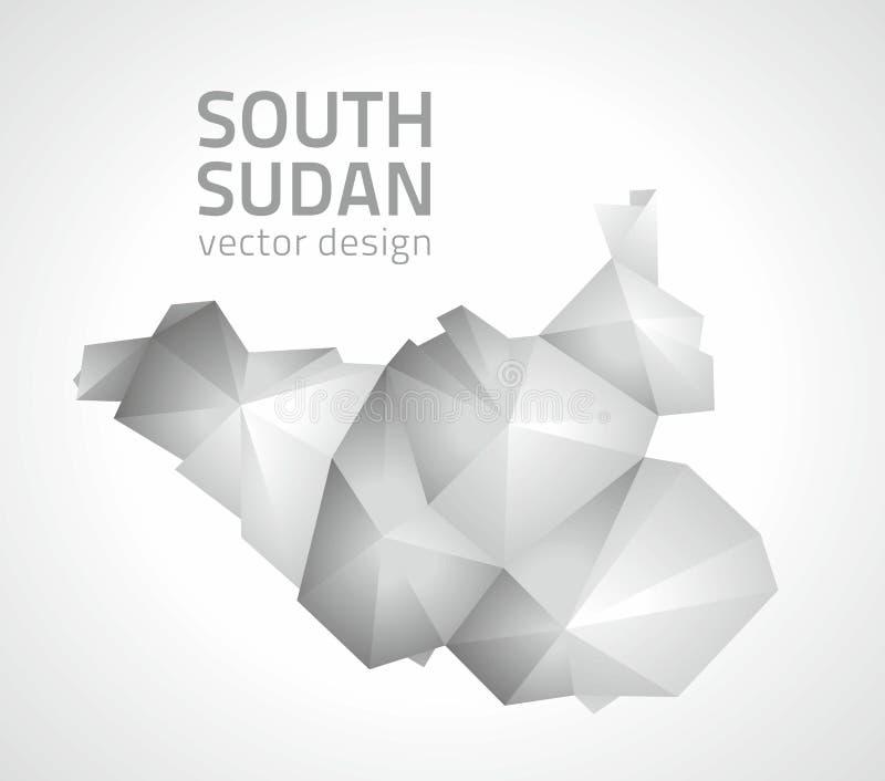 Carte polygonale OD Afrique de vecteur gris du sud du Soudan illustration libre de droits