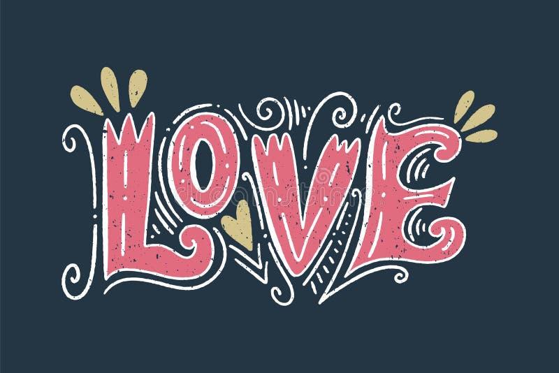 Carte positive de inscription fleurie de vecteur Style ancien, rétro conception de cru Chèque-cadeau, copie pour le T-shirt et da illustration stock