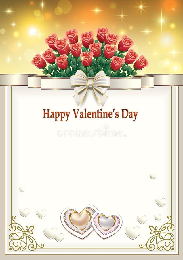 Carte postale à la Saint-Valentin avec un bouquet des roses rouges et des coeurs illustration de vecteur