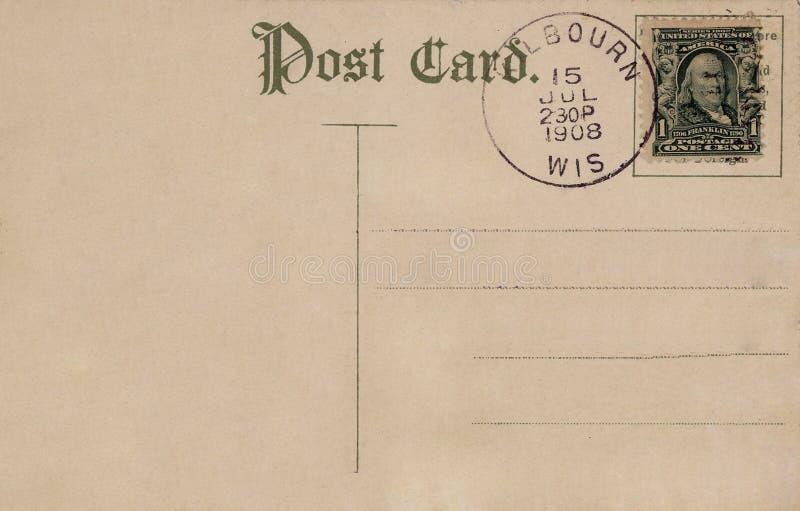 Carte postale 1908 de cru photographie stock libre de droits