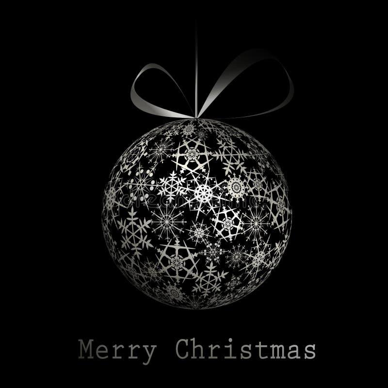 Carte postale argentée de Joyeux Noël illustration libre de droits
