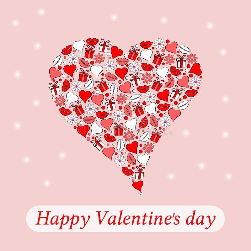 Carte postale au jour du coeur de Valentine sur un fond de rpink illustration stock