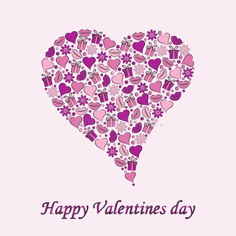 Carte postale au jour du coeur de Valentine sur un fond pourpre illustration libre de droits