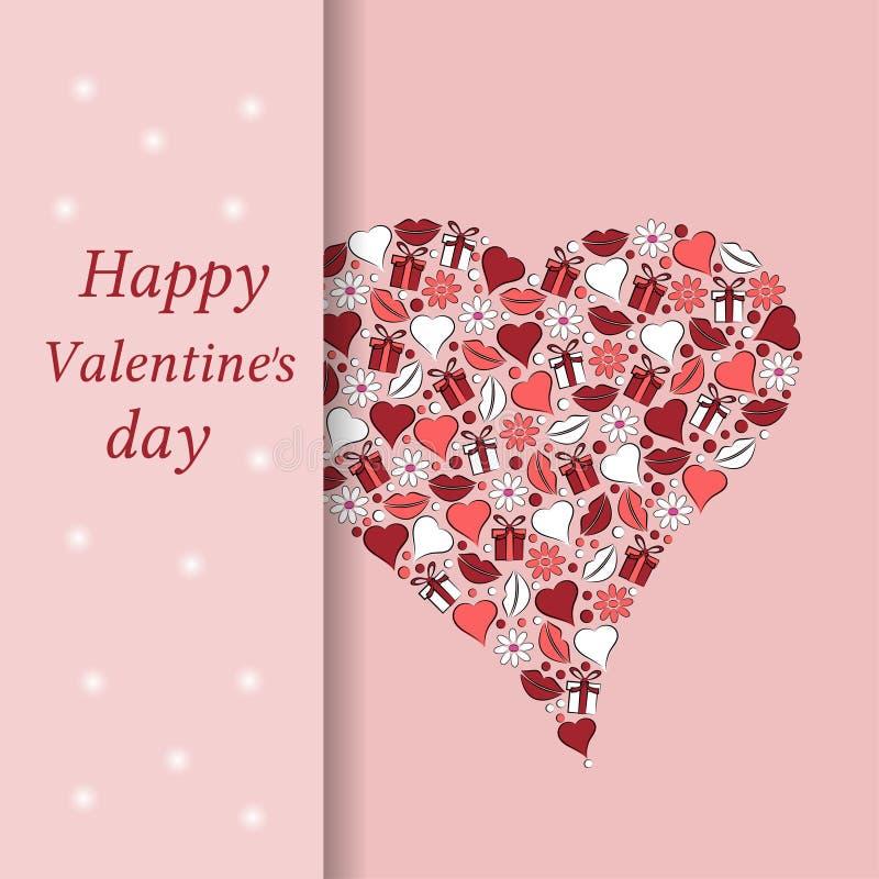 Carte postale au jour du coeur de Valentine sur un fond rose illustration stock