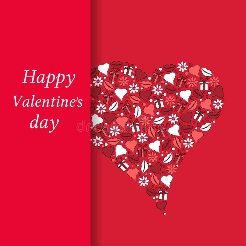 Carte postale au jour du coeur de Valentine sur un fond rouge illustration libre de droits
