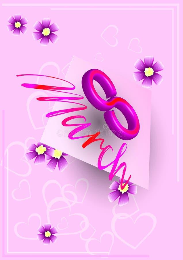 Carte postale au 8 mars Pâle - carte rose illustration de vecteur