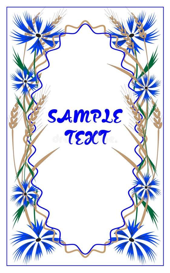 Carte postale avec des bleuets et des oreilles de blé illustration libre de droits