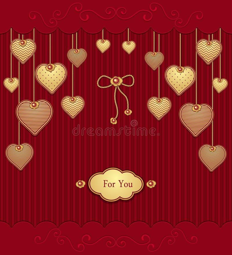 Carte postale avec des coeurs de texture sur des cordes dans des couleurs rouges d'or illustration libre de droits