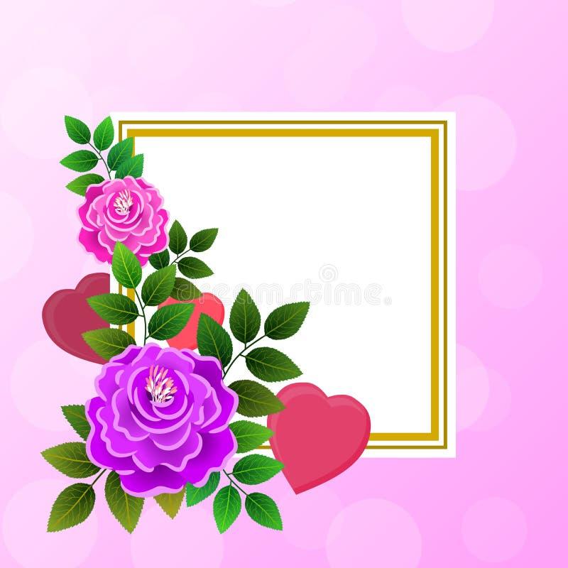 Carte postale avec des coeurs et des fleurs et un espace central vide, allusif floraux au thème de roman et de la Saint-Valentin  illustration de vecteur