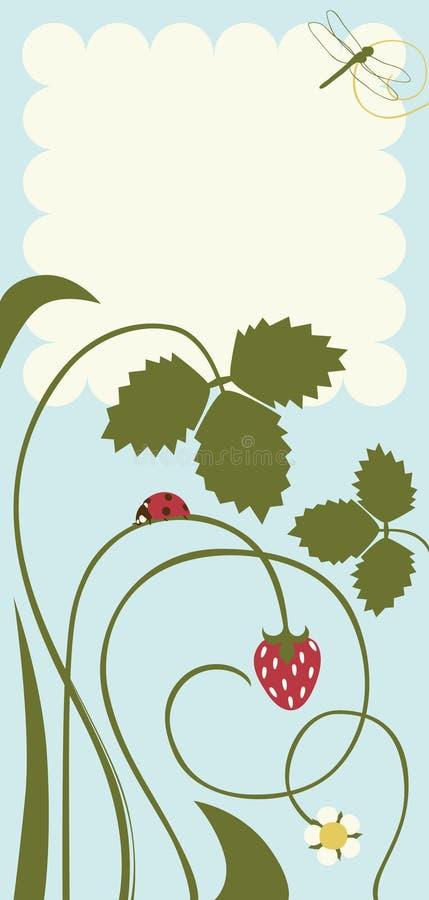 Carte postale avec des lames et des fraises illustration stock