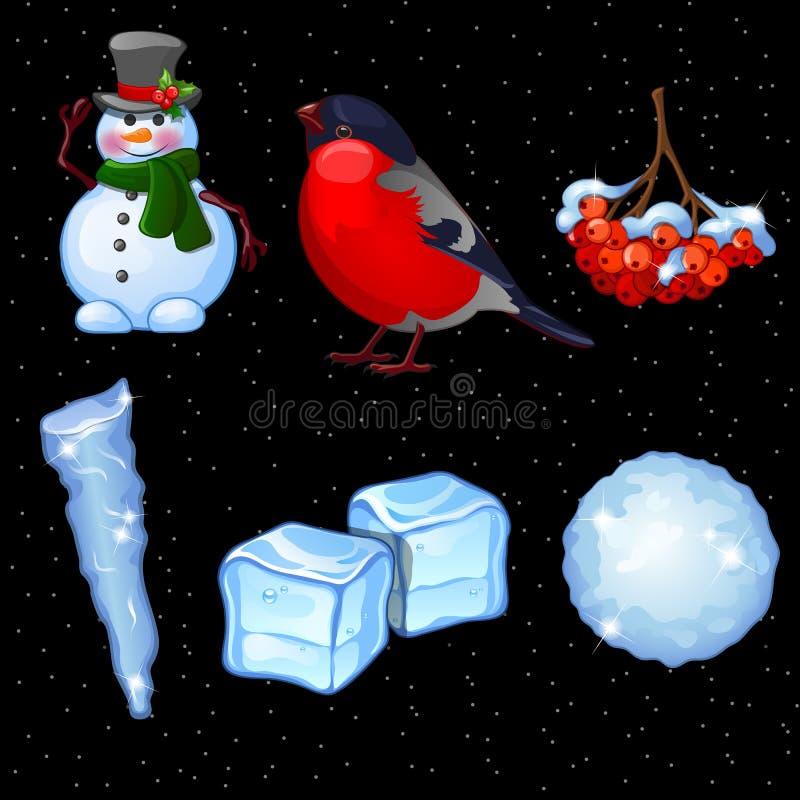Carte postale avec l'ensemble d'hiver et de symboles de Noël illustration stock
