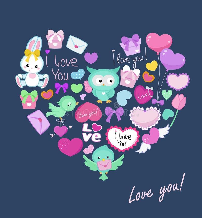 Carte postale avec la forme mignonne de coeur d 39 animaux pour la saint valentin anniversaire - Coeur pour la saint valentin ...