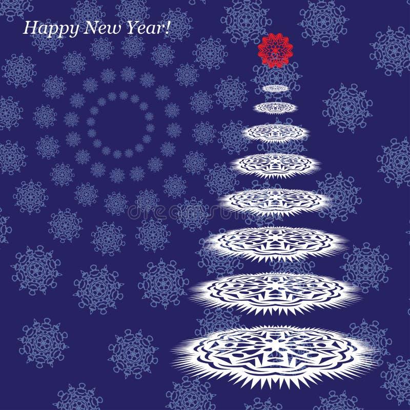 Carte postale avec la nouvelle année Arbre de Noël des flocons de neige sur un fond bleu Vecteur illustration de vecteur