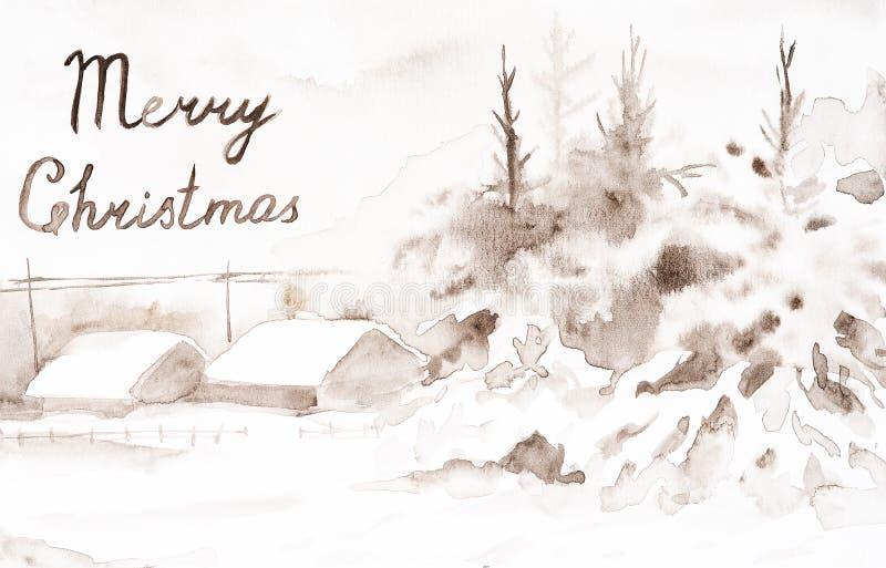 Carte postale avec le Joyeux Noël d'inscription Paysage de brun d'hiver du village dans les bois Aquarelle tir?e par la main photo libre de droits