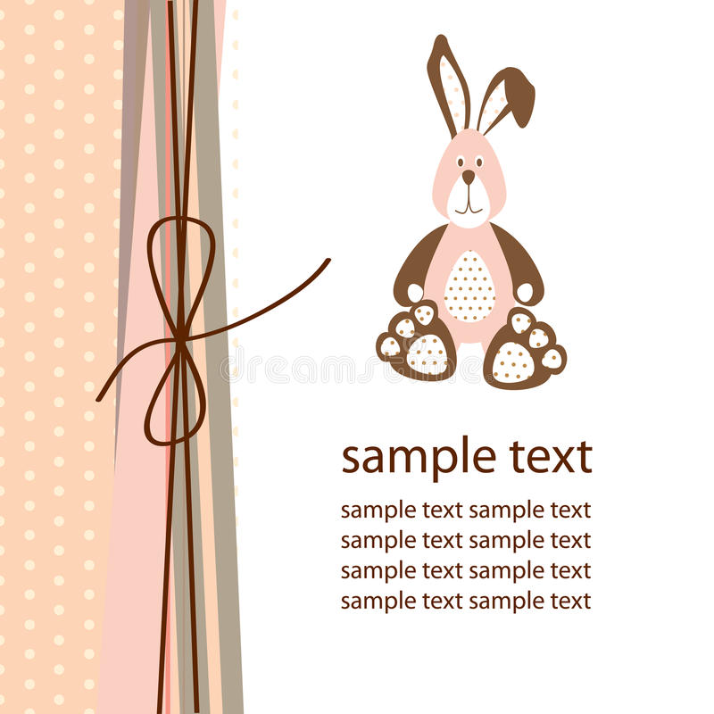 Carte postale avec le lapin illustration stock