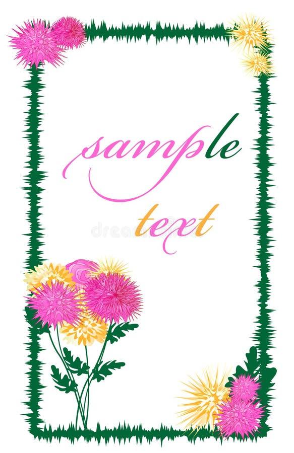 Carte postale avec les dahlias sensibles, le rose et jaune illustration stock