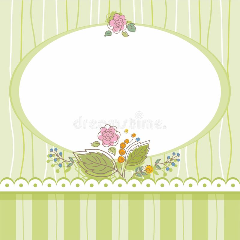 Carte postale, cadre, vert, barré, ovale, fleurs, bouquet illustration de vecteur