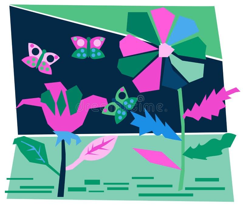 Carte postale colorée d'été avec le jardin coupé de papier de nuit, mites, fleurs de fleurs dans pourpre, bleu marine, couleur ve illustration stock