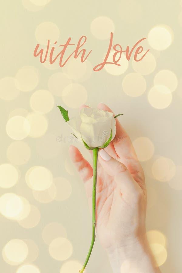 Carte postale d'amour à la rose en main photo libre de droits