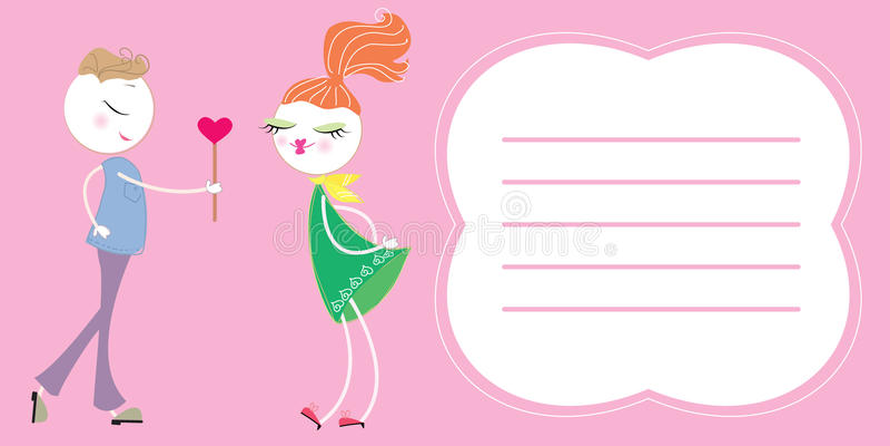 Carte postale d'amour de vecteur pour le texte illustration de vecteur
