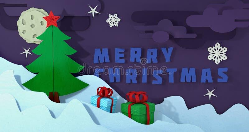 Carte postale d'arbre de Noël de Papercut Fond de Noël de métier de papier Paysage de Noël d'hiver de coupe-circuit Joyeux coupé  illustration libre de droits