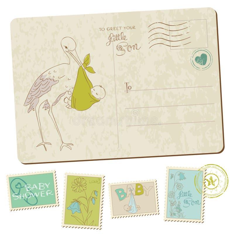 Carte postale d'arrivée de bébé de cru illustration stock