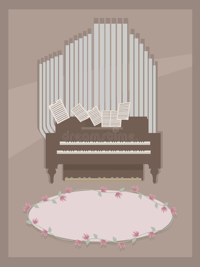 Carte postale de Brown avec brun de petit organe de pièce et gris en bois avec deux claviers pour des mains, des pages avec des n illustration de vecteur