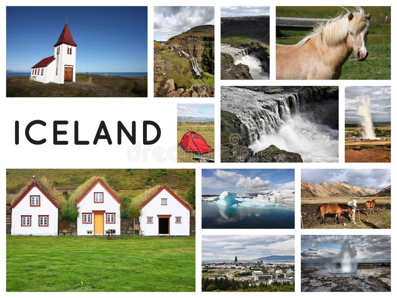 Carte postale de collage de l'Islande photos libres de droits