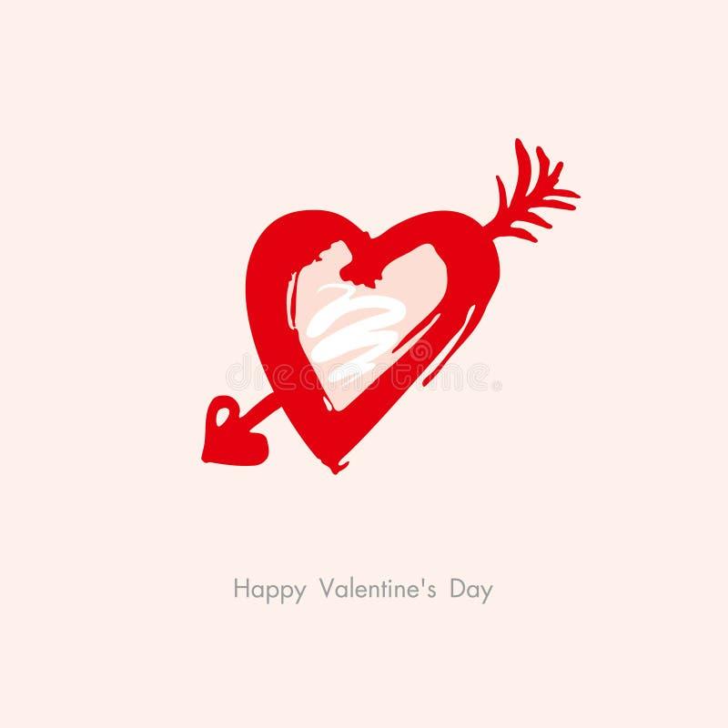 Carte postale de flèche de coeur de griffonnage à la Saint-Valentin heureuse illustration libre de droits