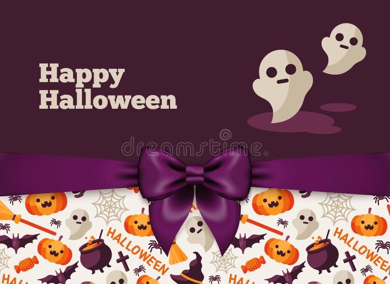 Carte postale de Halloween avec le caractère mignon de Ghost illustration libre de droits