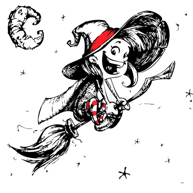 Carte postale de Halloween avec le vol mignon de sorcière sur ses contours de balai Illustration de vecteur illustration libre de droits