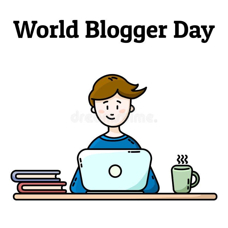 Carte postale de jour de Blogger du monde Gar?on avec l'ordinateur portatif illustration de vecteur