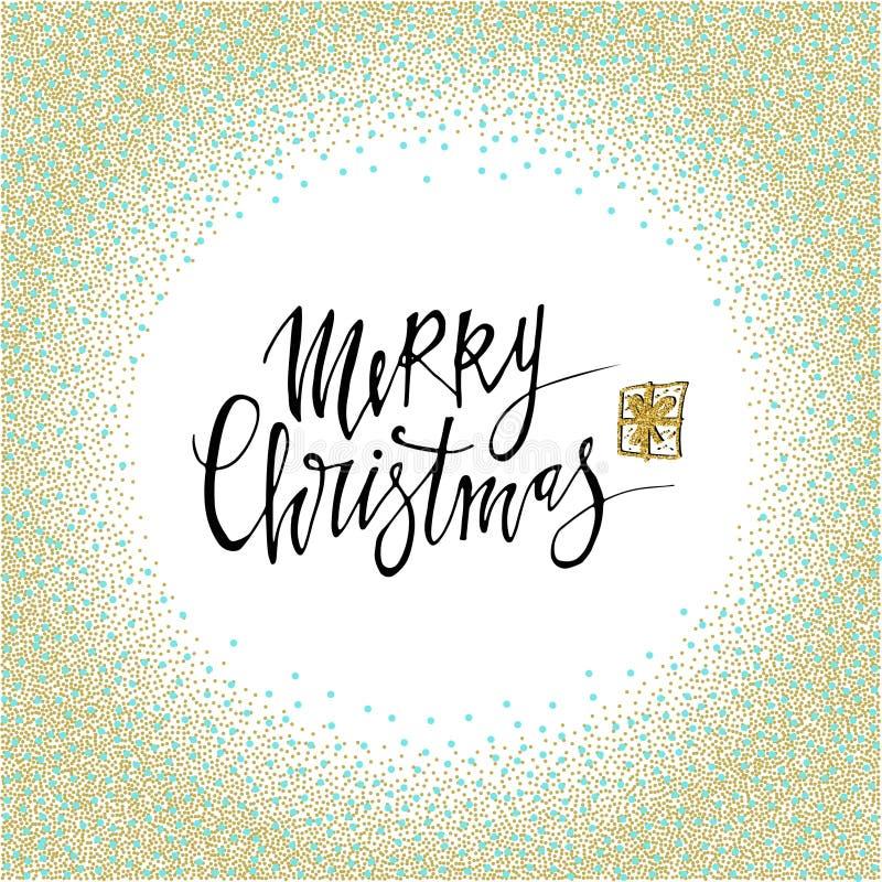 Carte postale de Joyeux Noël avec la texture de cercle de scintillement d'or Lettrage moderne d'isolement sur le fond blanc Conce illustration stock