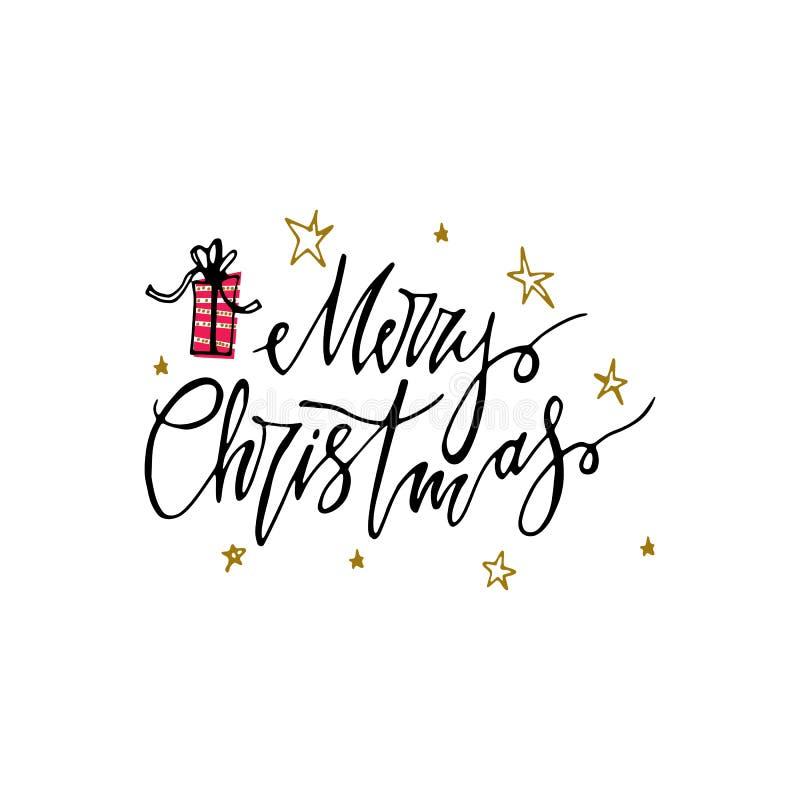 Carte postale de Joyeux Noël avec le présent et les étoiles Lettrage moderne d'isolement sur le fond blanc Concept de carte de No illustration stock