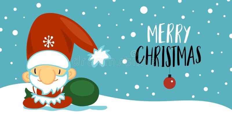 Carte postale de Joyeux Noël et de bonne année avec le père noël mignon dans le style de bande dessinée sur le fond bleu avec la  illustration de vecteur