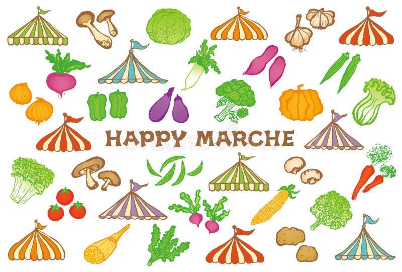 Carte postale de marché avec des tentes et des légumes d'événement illustration de vecteur