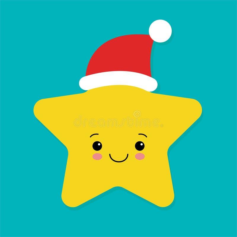 Carte postale de Noël avec l'étoile mignonne du chapeau du Père Noël Dessin de Noël pour enfants Style Noël et Bonne Année illustration stock