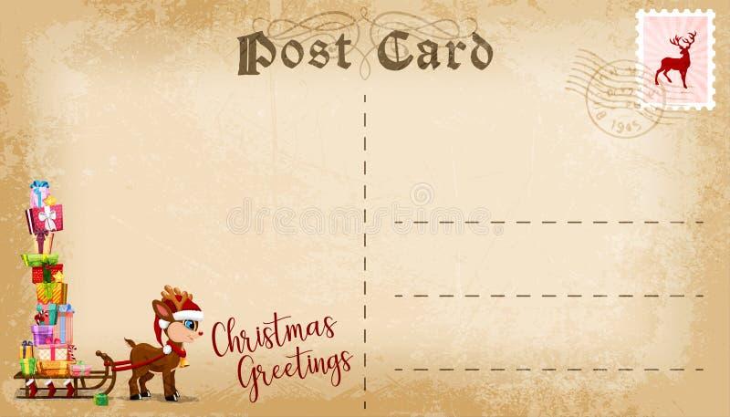 Carte postale de Noël avec le renne mignon de bande dessinée et espace de copie pour le texte Vecteur illustration de vecteur