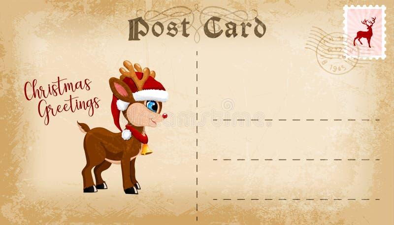 Carte postale de Noël avec le renne mignon de bande dessinée de bande dessinée et espace de copie pour le texte Vecteur illustration stock
