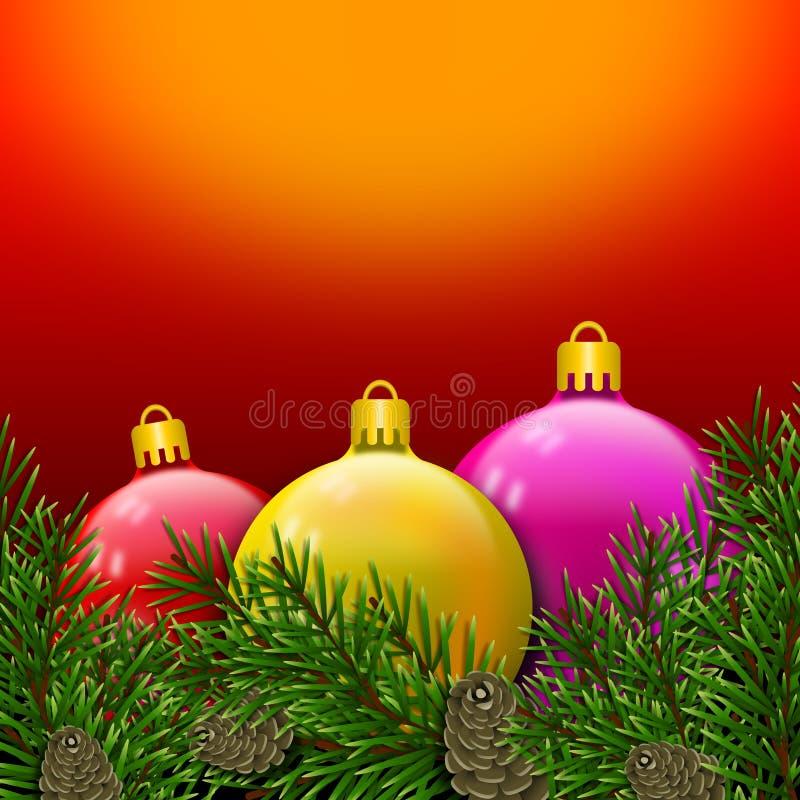 Carte postale de Noël avec les boules colorées et brillantes enveloppées dans des branches de pin avec des pinecones illustration libre de droits