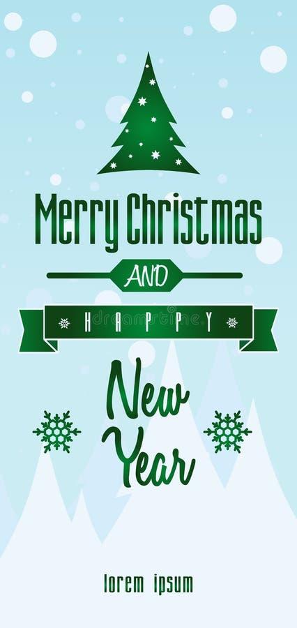 Carte postale de Noël ou calibre de fond Écran protecteur illustration de vecteur