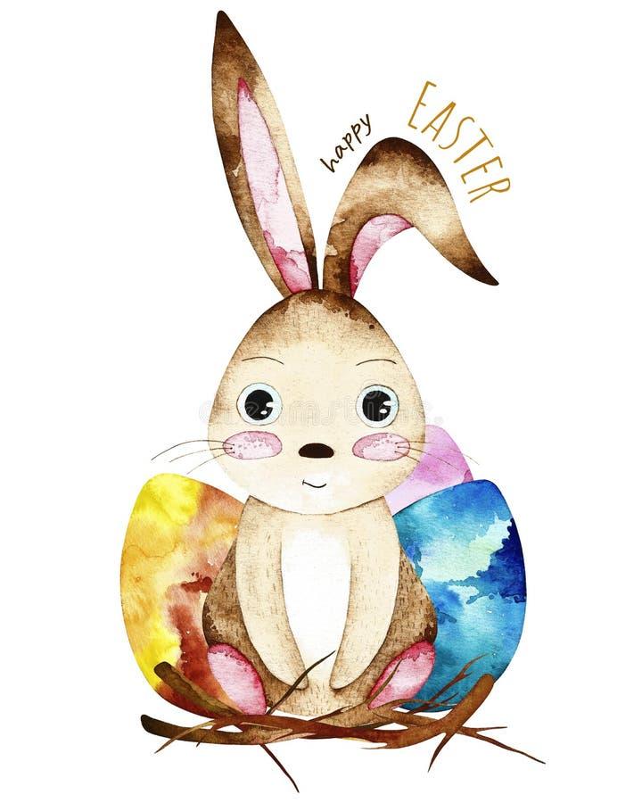 Carte postale de Pâques d'aquarelle illustration libre de droits