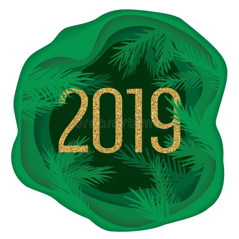 Carte postale de papier coupée posée de Noël avec des branches d'arbre et scintiller 2019 Illustration de vecteur illustration stock