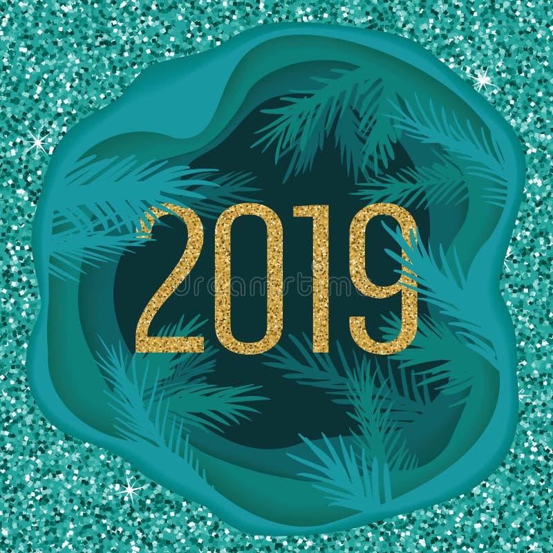 Carte postale de papier coupée posée de Noël avec des branches d'arbre et scintiller 2019 Illustration de vecteur illustration de vecteur