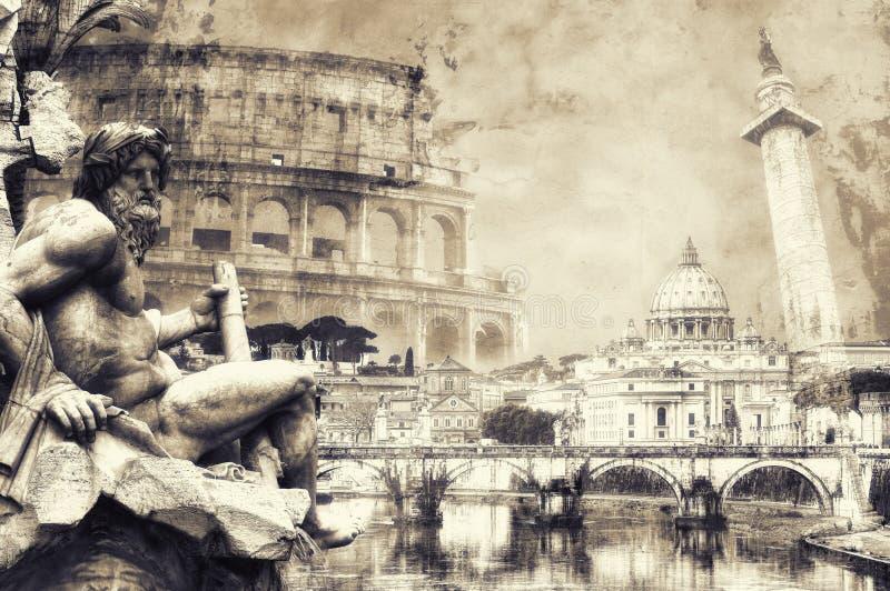 Carte postale de Rome dans la sépia illustration de vecteur