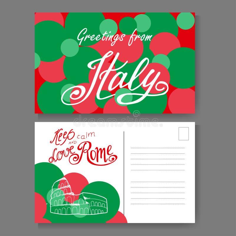 Carte postale de Rome Lettrage et croquis tirés par la main Salutations d'Italie Illestration de vecteur illustration de vecteur