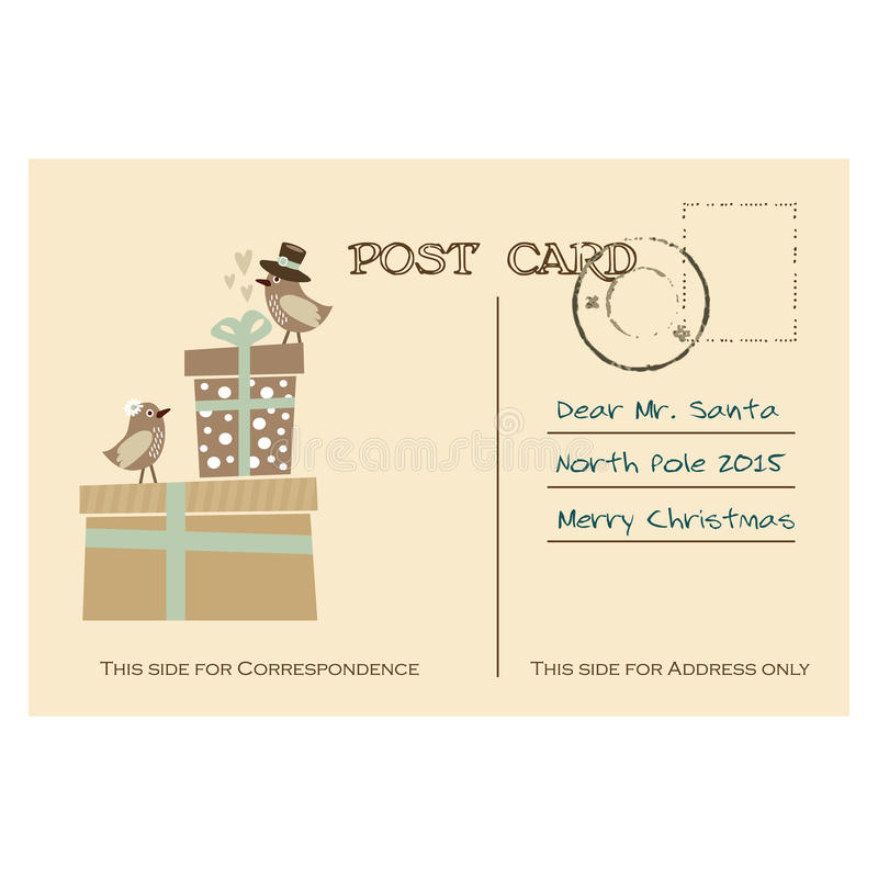 Carte postale de salutation de Noël de vintage avec des oiseaux, boîte-cadeau illustration de vecteur