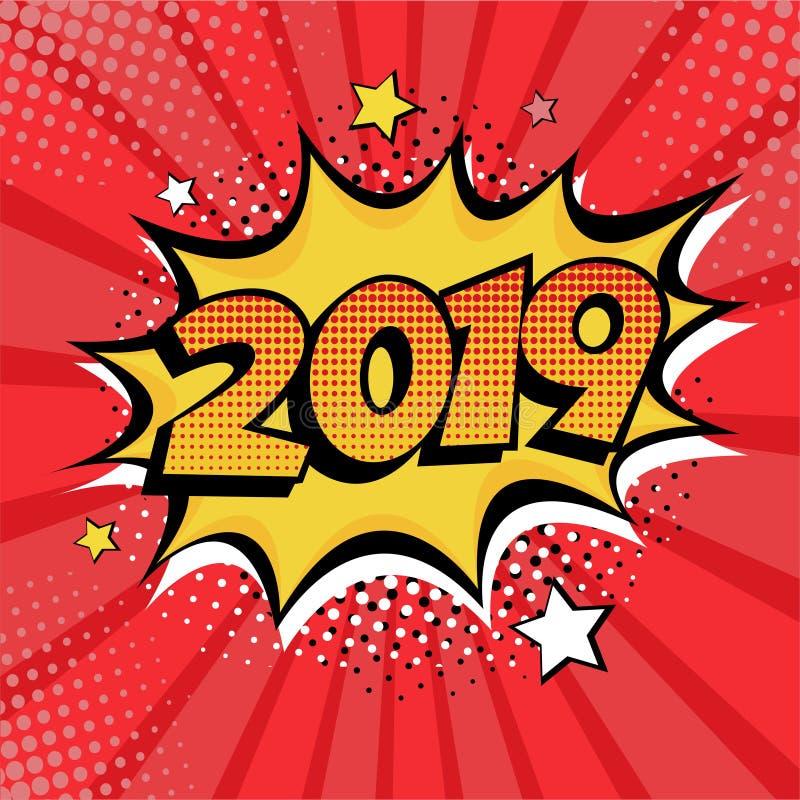 Carte postale de style de bande dessinée de la nouvelle année 2019 ou élément de carte de voeux Vecteur dans style comique d'art  illustration de vecteur