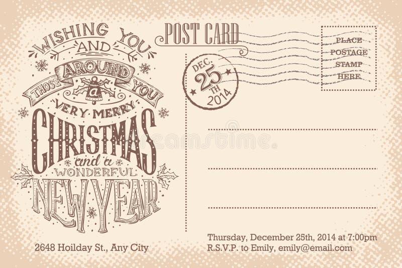 Carte postale de vacances de Joyeux Noël de vintage et de nouvelle année illustration de vecteur