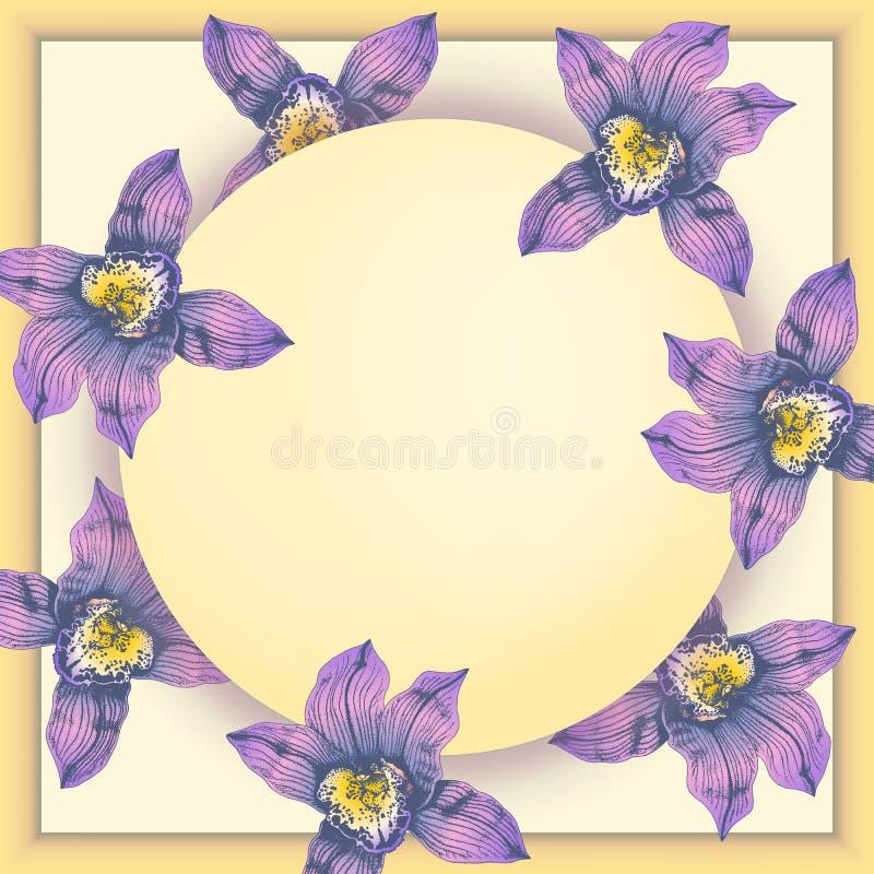 Carte postale de vecteur avec les orchidées merveilleuses de rose tirées par la main dans graphique et de style vrai en même temp illustration de vecteur